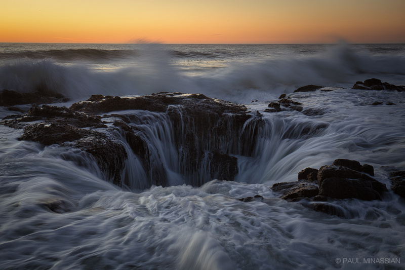 Dusk at Thor's Well