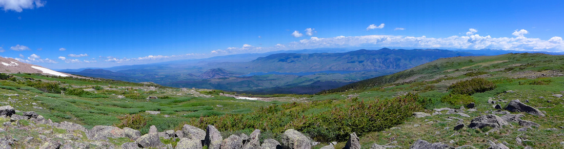 The way down panorama. Green Mountain Res. in the distance.